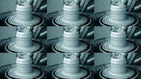 Σχηματοποίηση εργαστηρίων του αργίλου στη ρόδα αγγειοπλαστών ` s Βρώμικος παραδίδει τον άργιλο απόθεμα βίντεο
