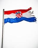 Σχισμένη εθνική σημαία της Κροατίας Στοκ Φωτογραφίες
