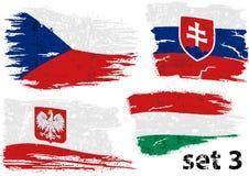 Σχισμένη σημαία τσεχικά, Σλοβακία, Πολωνία και Ουγγαρία διανυσματική απεικόνιση