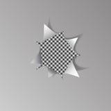 Σχισμένη τρύπα στο άσπρο φύλλο του εγγράφου για το διαφανές υπόβαθρο Στοκ Φωτογραφίες