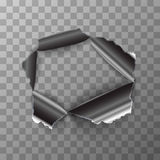 Σχισμένη τρύπα στο στιλπνό μεταλλικό πιάτο στο διαφανές υπόβαθρο απεικόνιση αποθεμάτων