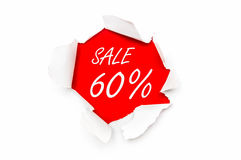 Σχισμένο έγγραφο με το γραπτό κείμενο - πώληση 60% μακριά διανυσματική απεικόνιση
