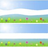 Σχισμένο τοπίο άνοιξη εγγράφου μέσο με τα λουλούδια Στοκ Εικόνα