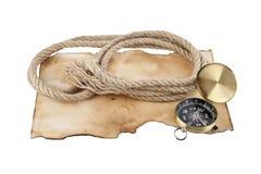 Σχοινί και πυξίδα σε παλαιό χαρτί Στοκ Εικόνα
