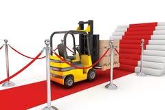 Σχοινί κόκκινου χαλιού και εμποδίων με Forklift και τα κιβώτια Στοκ εικόνες με δικαίωμα ελεύθερης χρήσης
