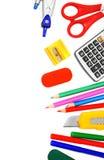 Σχολικά εργαλεία στην άσπρη ανασκόπηση. Στοκ φωτογραφία με δικαίωμα ελεύθερης χρήσης