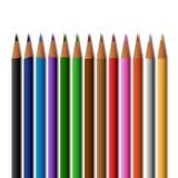 Σχολικά χρωματισμένα προμήθειες μολύβια, που απομονώνονται σε ένα άσπρο υπόβαθρο απεικόνιση αποθεμάτων