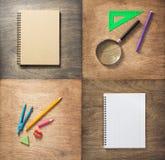 Σχολικές προμήθειες στο ξύλινο υπόβαθρο Στοκ Εικόνες