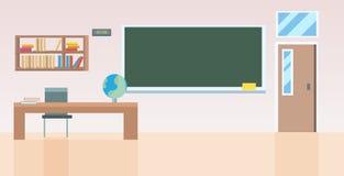 Σχολική τάξη με τα έπιπλα κενά κανένας εσωτερικός επίπεδος οριζόντιος δωματίων κατηγορίας ανθρώπων ελεύθερη απεικόνιση δικαιώματος