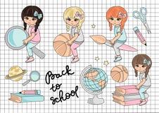 Σχολικού Clipart απεικόνιση που τίθεται διανυσματική ΠΙΣΩ στο ΣΧΟΛΕΙΟ απεικόνιση αποθεμάτων
