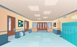 Σχολικός διάδρομος Φωτεινό εσωτερικό κολλεγίων του μεγάλου διαδρόμου με την τάξη πορτών με τα γραφεία χωρίς διανυσματικά κινούμεν ελεύθερη απεικόνιση δικαιώματος
