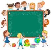 Σχολικός πίνακας για τα αστεία παιδιά κειμένων και τα σχέδια κιμωλίας σας Στοκ εικόνες με δικαίωμα ελεύθερης χρήσης