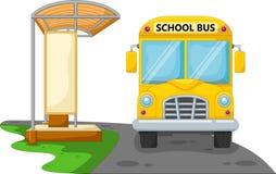 Σχολικό λεωφορείο κινούμενων σχεδίων με τη στάση λεωφορείου διανυσματική απεικόνιση