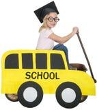 Σχολικό λεωφορείο, παιδιά, παιχνίδι, που απομονώνεται στοκ εικόνα