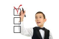 σχολικό πεννών τετραγωνιδίων αγοριών στοκ φωτογραφία με δικαίωμα ελεύθερης χρήσης