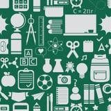 Σχολείο και εκπαιδευτικά εικονίδια, υπόβαθρο, και άνευ ραφής σχέδιο απεικόνιση αποθεμάτων