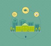 Σχολείο και πανεπιστημιακό εικονίδιο οικοδόμησης Στοκ Φωτογραφίες