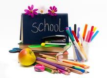 Σχολείο 0bjects και μήλο. Ημέρα δασκάλων Στοκ Εικόνες