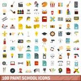 100 σχολικά εικονίδια χρωμάτων καθορισμένα, επίπεδο ύφος Στοκ Εικόνα
