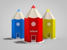 Σχολικά κτίρια μορφής μολυβιών Στοκ φωτογραφίες με δικαίωμα ελεύθερης χρήσης