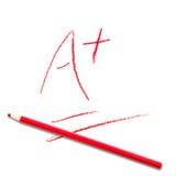 Σχολική βαθμολογία του τεστ A+ Στοκ φωτογραφία με δικαίωμα ελεύθερης χρήσης