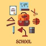 Σχολική εκπαίδευση Infographic στο επίπεδο σχέδιο Στοκ φωτογραφίες με δικαίωμα ελεύθερης χρήσης