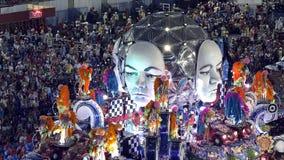 Σχολική σκηνή Samba στην παρέλαση σταδίων Sambodromo καρναβάλι Στοκ εικόνες με δικαίωμα ελεύθερης χρήσης