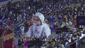 Σχολική σκηνή Samba στην παρέλαση σταδίων Sambodromo καρναβάλι φιλμ μικρού μήκους