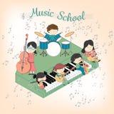 Σχολική σύνθεση μουσικής παιδιών με τα αγόρια και τα κορίτσια που παίζουν πολλά όργανα διανυσματική απεικόνιση