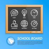 Σχολικός ξύλινος πίνακας με τα εικονίδια Στοκ εικόνες με δικαίωμα ελεύθερης χρήσης