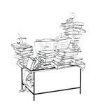 Σχολικό γραφείο με τα βιβλία, τη λογοτεχνία και τη βιβλιοθήκη ελεύθερη απεικόνιση δικαιώματος