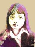 σχολικό λευκό κοριτσιών isoalte ελεύθερη απεικόνιση δικαιώματος