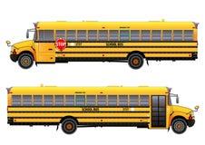 Σχολικό λεωφορείο, διανυσματική απεικόνιση Στο λευκό Στοκ Φωτογραφίες
