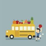 Σχολικό λεωφορείο και φρούτα διανυσματική απεικόνιση