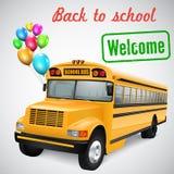 Σχολικό λεωφορείο με τα μπαλόνια Στοκ Εικόνες
