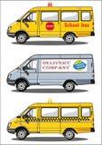 Σχολικό λεωφορείο φορτηγών, παράδοση, ταξί Απεικόνιση αποθεμάτων