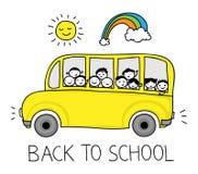 Σχολικό λεωφορείο doodle διανυσματική απεικόνιση
