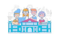 σχολικό διάνυσμα απεικόνισης παιδιών χαριτωμένο Σχολικές δραστηριότητες πίσω σχολείο γραμμική αφίσα εκπαίδευσης που απομονώνεται  απεικόνιση αποθεμάτων
