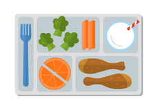 Σχολικό μεσημεριανό γεύμα στο επίπεδο ύφος Στοκ Φωτογραφίες