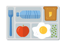 Σχολικό μεσημεριανό γεύμα στο επίπεδο ύφος απεικόνιση αποθεμάτων