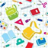 Σχολικό σχέδιο με τις προμήθειες εκπαίδευσης Στοκ φωτογραφία με δικαίωμα ελεύθερης χρήσης