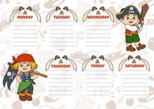 Σχολικό χρονοδιάγραμμα για τα παιδιά με τις ημέρες της εβδομάδας Πειρατές διανυσματική απεικόνιση
