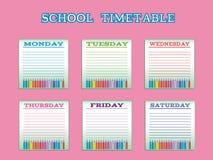 Σχολικό χρονοδιάγραμμα για τους σπουδαστές ή τους μαθητές με τις ημέρες της εβδομάδας Στοκ Φωτογραφία
