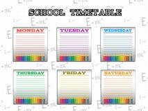 Σχολικό χρονοδιάγραμμα για τους σπουδαστές ή τους μαθητές με τις ημέρες της εβδομάδας Στοκ εικόνες με δικαίωμα ελεύθερης χρήσης