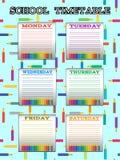 Σχολικό χρονοδιάγραμμα για τους σπουδαστές ή τους μαθητές με τις ημέρες της εβδομάδας Στοκ φωτογραφίες με δικαίωμα ελεύθερης χρήσης