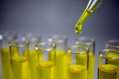 Σωλήνες δοκιμής γυαλιού με τα εργαστηριακά κίτρινα υγρά στοκ φωτογραφία με δικαίωμα ελεύθερης χρήσης