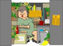σωριασμένη γυναίκα θαλαμ απεικόνιση αποθεμάτων