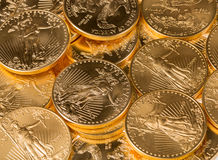 Συλλογή των χρυσών νομισμάτων μιας ουγγιάς Στοκ φωτογραφίες με δικαίωμα ελεύθερης χρήσης
