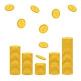 Σωροί του χρυσού πετάγματος εικονιδίων νομισμάτων που πέφτει κάτω Μορφή διαγραμμάτων Σύμβολο σημαδιών δολαρίων χρήματα μετρητών Α Στοκ φωτογραφία με δικαίωμα ελεύθερης χρήσης