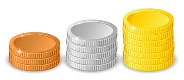 Σωροί των νομισμάτων χρυσού, ασημιών και χαλκού στα διαφορετικά ύψη με το χρυσό ο πιό ψηλός σε δύο διαφορετικές παραλλαγές Στοκ Φωτογραφίες